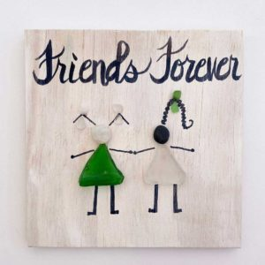 sea glass sign with two girls friends forever