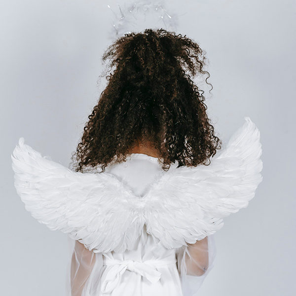Back of girl with angel wings