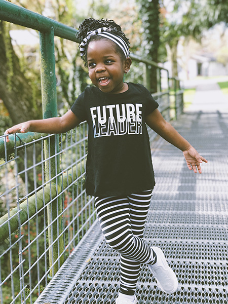Little Girl with T-Shirt that says Future Leader