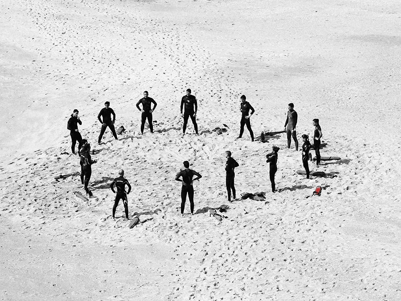 group of men in a circle